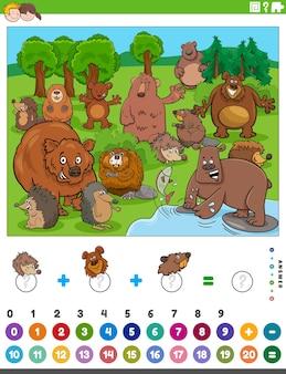Zählen und hinzufügen von aufgaben mit cartoon-tieren