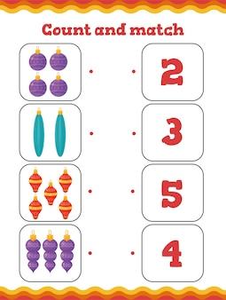 Zählen und kombinieren sie kleinkind-bildungsspiele mit weihnachtsbaumdekoration. weihnachtsarbeitsblatt für kinder im vorschul- oder kindergarten.