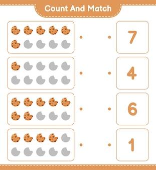 Zählen und übereinstimmen, die anzahl der cookies zählen und mit den richtigen zahlen übereinstimmen. pädagogisches kinderspiel