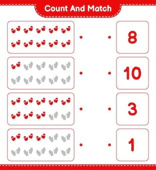 Zählen und übereinstimmen, die anzahl der fäustlinge zählen und mit den richtigen zahlen übereinstimmen. pädagogisches kinderspiel