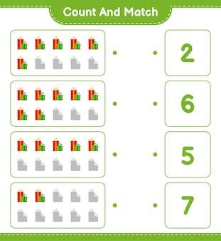 Zählen und übereinstimmen, die anzahl der geschenkboxen zählen und mit den richtigen zahlen übereinstimmen. pädagogisches kinderspiel