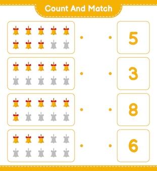Zählen und übereinstimmen, die anzahl der goldenen weihnachtsglocken zählen und mit den richtigen zahlen übereinstimmen. pädagogisches kinderspiel