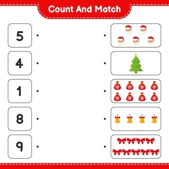 Zählen und übereinstimmen, die anzahl der weihnachtsdekorationen zählen und mit den richtigen zahlen übereinstimmen. pädagogisches kinderspiel