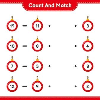 Zählen und übereinstimmen, die anzahl der weihnachtskugeln zählen und mit den richtigen zahlen übereinstimmen. pädagogisches kinderspiel