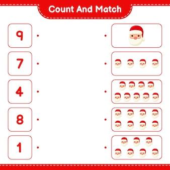 Zählen und übereinstimmen, die anzahl der weihnachtsmänner zählen und mit den richtigen zahlen übereinstimmen. pädagogisches kinderspiel
