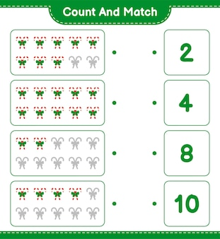 Zählen und übereinstimmen, die anzahl der zuckerstangen mit band zählen und mit den richtigen zahlen übereinstimmen. pädagogisches kinderspiel