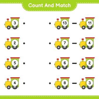 Zählen und vergleichen, die anzahl der züge zählen und mit den richtigen zahlen übereinstimmen lernspiel für kinder, arbeitsblatt zum ausdrucken