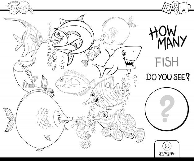 Zählen von fisch malbuch aktivität