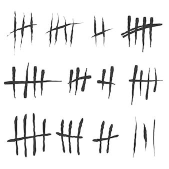 Zählmarken. zählzeichen an den wänden des gefängnisses. kerben zum markieren der tage.