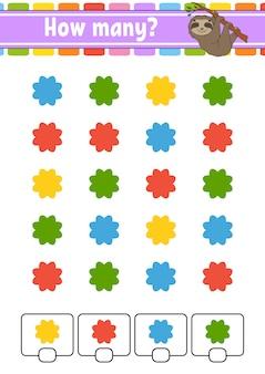 Zählspiel für kinder. glückliche charaktere. mathematik lernen. wie viele objekte auf dem bild.