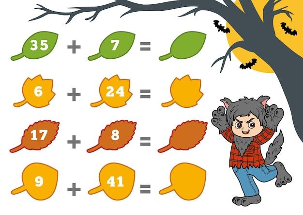 Zählspiel für kinder im vorschulalter halloween-charaktere werwolf zähle die zahlen auf dem bild