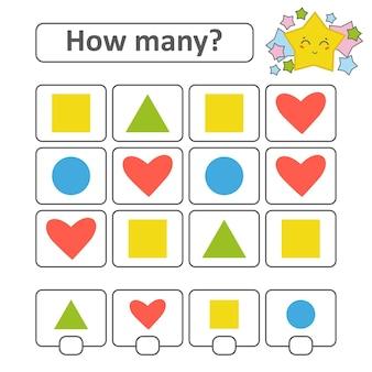 Zählspiel für kinder im vorschulalter. herz, quadrat, kreis, dreieck.