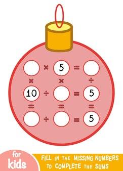 Zählspiel für kinder im vorschulalter. pädagogisch ein mathematisches spiel. zähle die zahlen im bild und schreibe das ergebnis. multiplikations- und divisionsarbeitsblatt mit weihnachtskugel