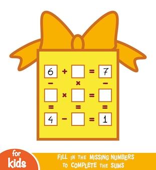 Zählspiel für kinder im vorschulalter. pädagogisch ein mathematisches spiel. zähle die zahlen im bild und schreibe das ergebnis. weihnachtsgeschenk