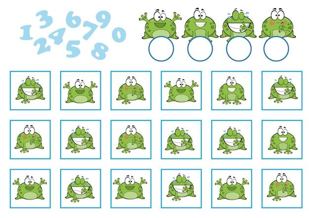 Zählspiel für kinder im vorschulalter. pädagogisch ein mathematisches spiel. zähle wie viele und schreibe das ergebnis auf