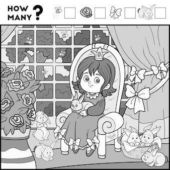 Zählspiel für kinder im vorschulalter. pädagogisch ein mathematisches spiel. zählen sie, wie viele elemente und schreiben sie das ergebnis! prinzessin und hintergrund