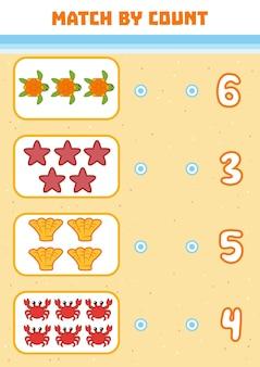 Zählspiel für kinder im vorschulalter zähle die meerestiere im bild und wähle die richtige antwort