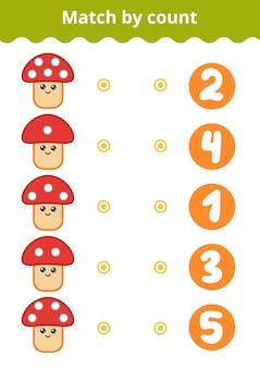 Zählspiel für kinder im vorschulalter zähle die punkte auf dem pilz und wähle die richtige antwort