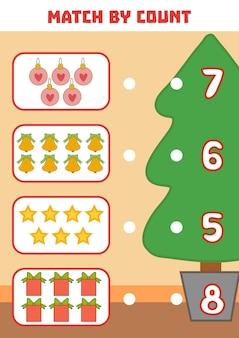 Zählspiel für kinder im vorschulalter zähle die weihnachtsobjekte im bild und wähle die richtige antwort