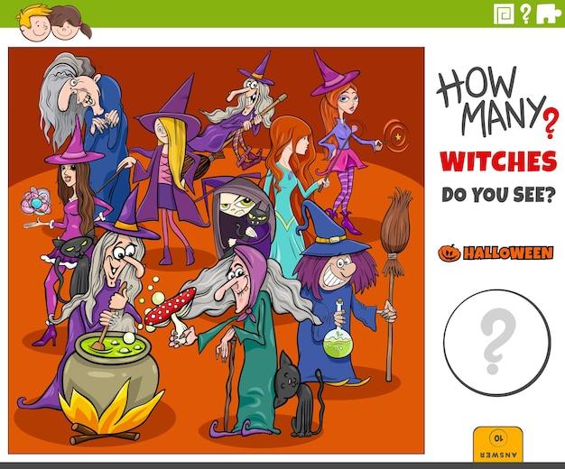 Zählspiel für kinder mit cartoon-hexen-halloween-charakteren