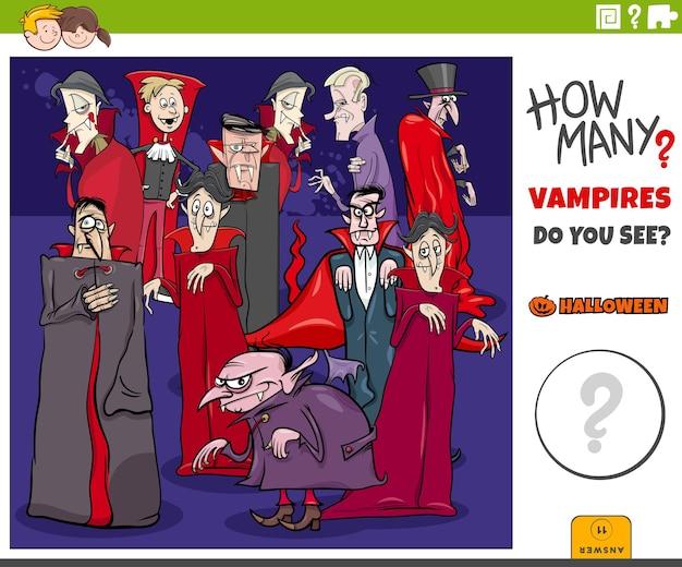 Zählspiel für kinder mit cartoon-vampiren halloween-charaktergruppe