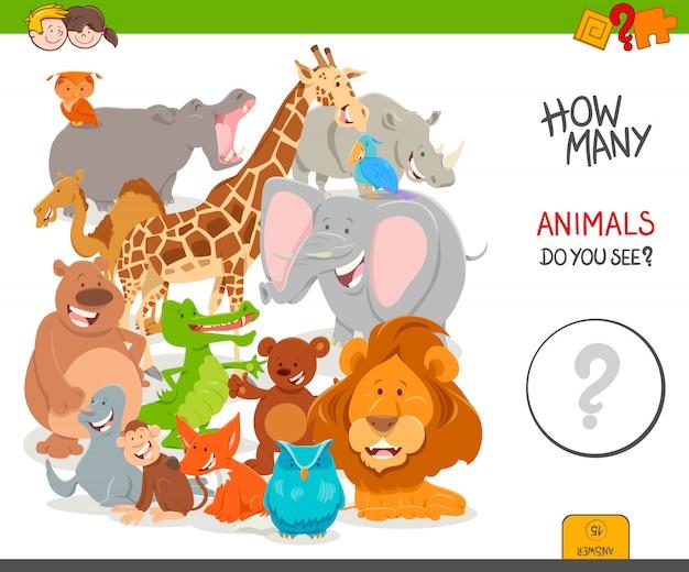 Zählspiel für kinder mit wilden tieren