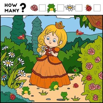 Zählspiel für kinder zähle, wie viele gegenstände und schreibe das ergebnis prinzessin und hintergrund
