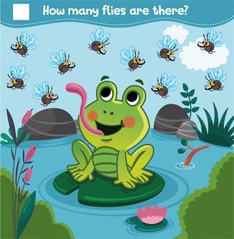 Zählspiel mit cartoon-frosch und fliegen für kinder wie viele fliegen gibt es? zähle die fliegen