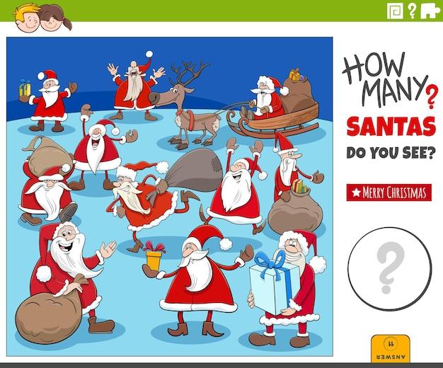 Zählspiel mit cartoon-weihnachtsmann-figurengruppe zur weihnachtszeit