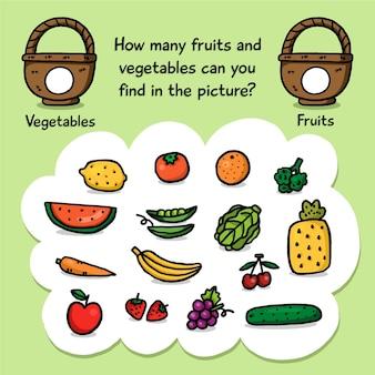 Zählspiel mit früchten und körben