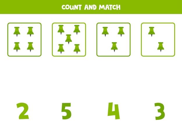 Zählspiel mit grünem push-pin. arbeitsblatt mathe.