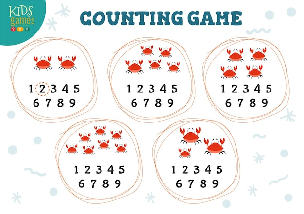 Zählspiel mit vielen roten krabben des cartoons für kinderillustration der vorschulkinder.