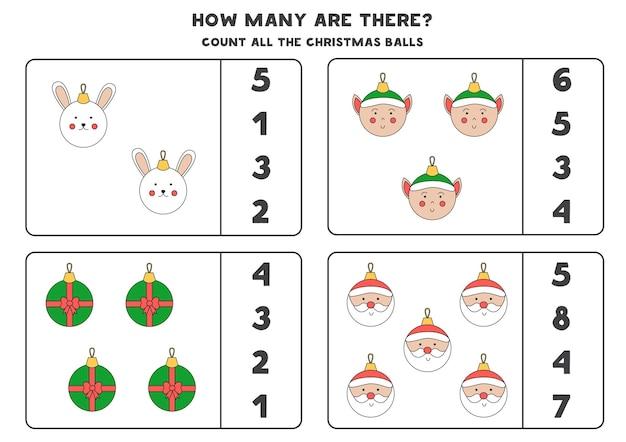 Zählspiel mit weihnachtskugeln. pädagogisches arbeitsblatt.