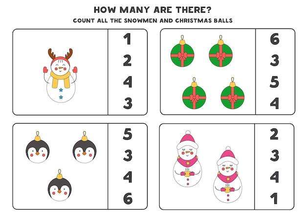 Zählspiel mit weihnachtskugeln und schneemännern. pädagogisches arbeitsblatt.
