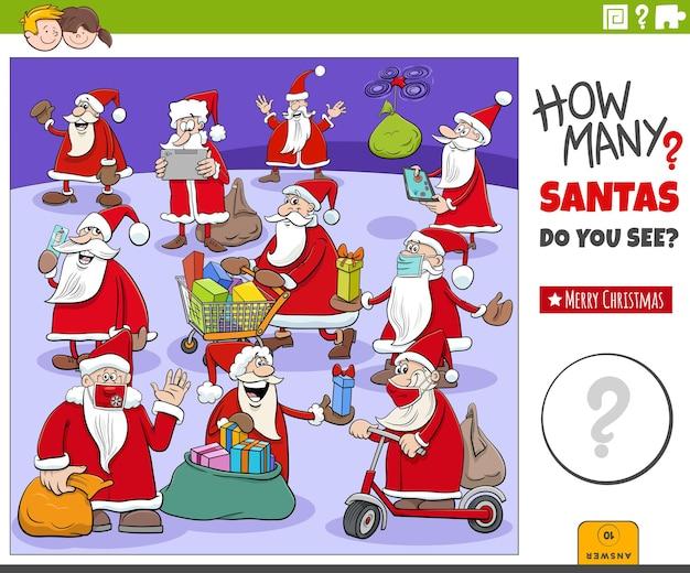 Zählspiel mit weihnachtsmann-zeichentrickfiguren zur weihnachtszeit