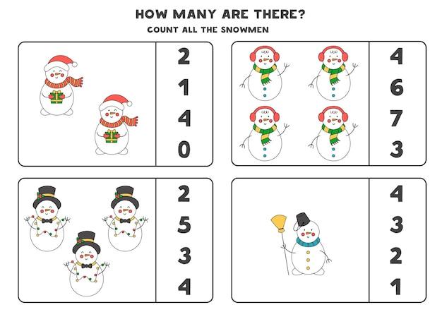 Zählspiel mit weihnachtsschneemännern. pädagogisches arbeitsblatt.