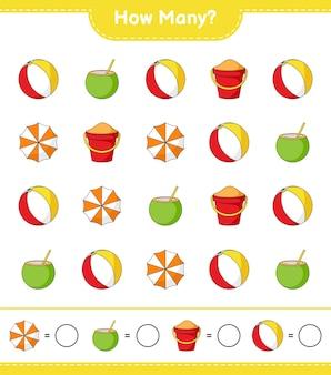 Zählspiel, wie viele beach ball, coconut, beach umbrella und sand bucket. lernspiel für kinder, arbeitsblatt zum ausdrucken