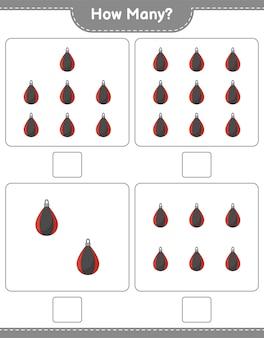 Zählspiel, wie viele boxsack pädagogisches kinderspiel druckbares arbeitsblatt vektor