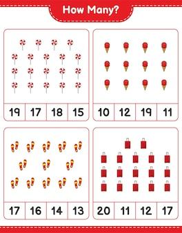 Zählspiel, wie viele flip flop, reisetasche, süßigkeiten und eiscreme. lernspiel für kinder, arbeitsblatt zum ausdrucken