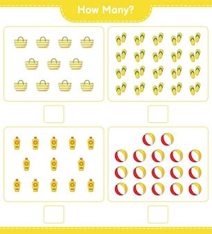 Zählspiel, wie viele flip flop, strandball, sonnencreme und strandtasche. lernspiel für kinder, arbeitsblatt zum ausdrucken Premium Vektoren