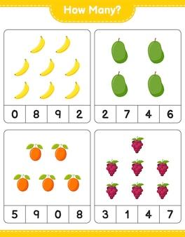 Zählspiel, wie viele früchte. pädagogisches kinderspiel, druckbares arbeitsblatt, illustration