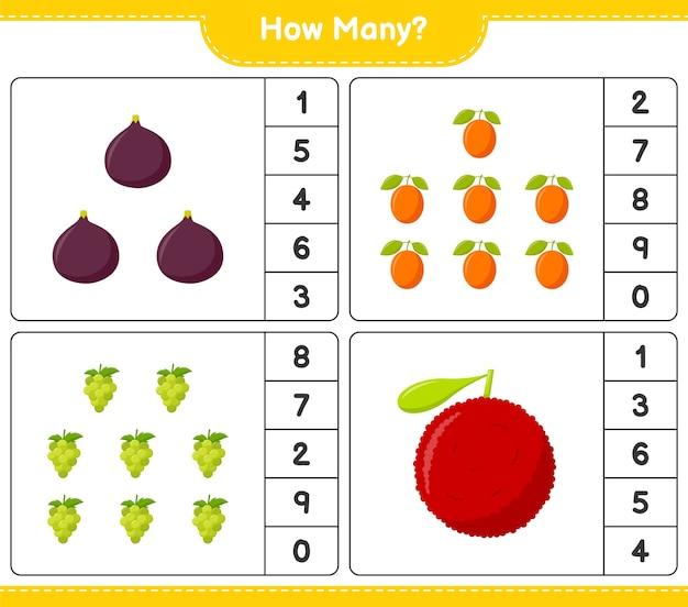 Zählspiel, wie viele früchte. pädagogisches kinderspiel, druckbares arbeitsblatt
