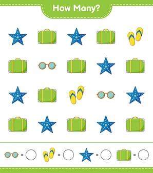Zählspiel, wie viele gepäck, seesterne, sonnenbrillen und flip flop. lernspiel für kinder, arbeitsblatt zum ausdrucken Premium Vektoren