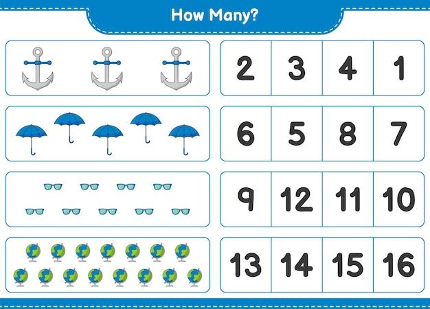 Zählspiel, wie viele globus, regenschirm, sonnenbrille und anker. lernspiel für kinder, arbeitsblatt zum ausdrucken