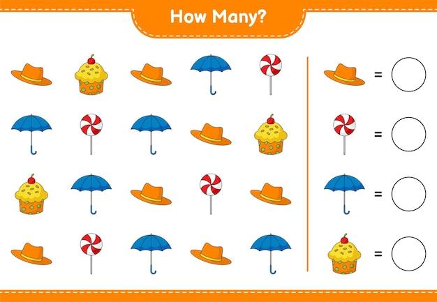 Zählspiel, wie viele hut, cup cake, regenschirm und süßigkeiten. lernspiel für kinder, arbeitsblatt zum ausdrucken