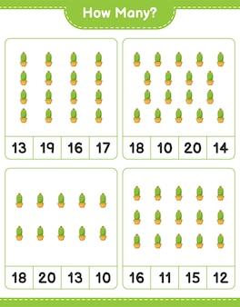 Zählspiel, wie viele kakteen. lernspiel für kinder, arbeitsblatt zum ausdrucken