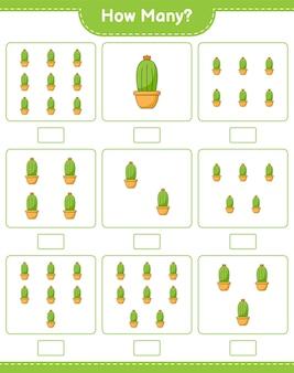 Zählspiel, wie viele kakteen. pädagogisches kinderspiel, druckbares arbeitsblatt