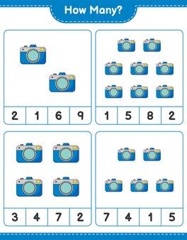 Zählspiel, wie viele kameras. lernspiel für kinder, arbeitsblatt zum ausdrucken