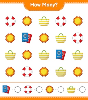 Zählspiel, wie viele rettungsringe, sonne, strandtasche und reisepass. lernspiel für kinder, arbeitsblatt zum ausdrucken