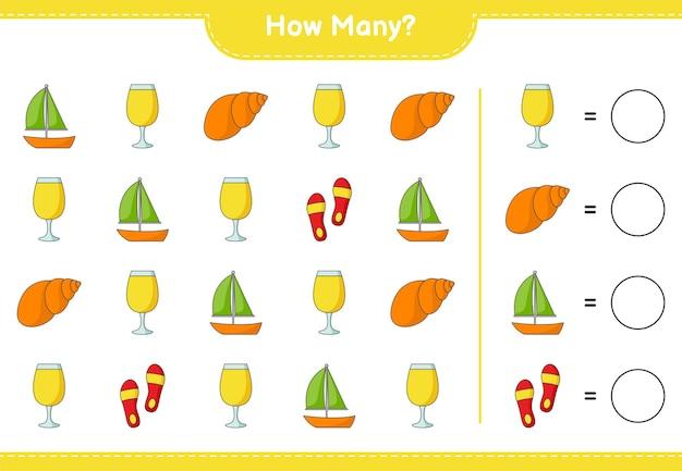 Zählspiel, wie viele segelboote, cocktails, flip flops und muscheln. lernspiel für kinder, arbeitsblatt zum ausdrucken